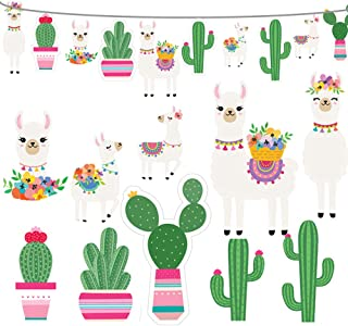 2019 Llama Cactus Banner Garland Party Supplies, Llama Cactus Themed Birthday Party Decorations for Mexican Fiesta, Cino De Mayo Llama Cactus Baby Shower, Hawaiian, Luau - 5 Llamas and 5 Cactus