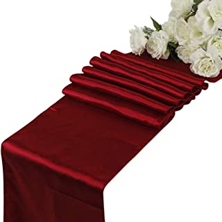 VDS - 10 PCS 12 x 108 inch Satin Table Runner for Wedding Banquet Décor Runners Charmeuse Silk Table Runner - Apple red