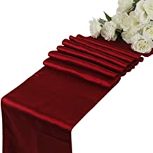 MDS Pack Of 10 Wedding 12 x 108 inch Satin Table Runner For Wedding Banquet Decoration- Apple Red