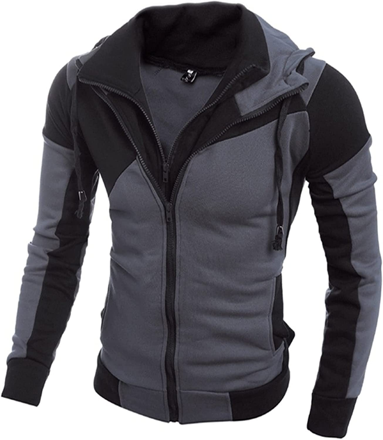 Mens Casual Slim Fit Hoodie,Stitching Fake Two-Piece Sweater Jacket,Round Neck Long Sleeve Pullover with Pockets