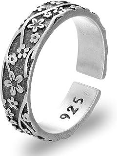 IPEPPY 925 Sterling Silver Vintage Design Daisy Flower Ring For Women Girls Relief Flower Open Ring Engagement Wedding Rin...