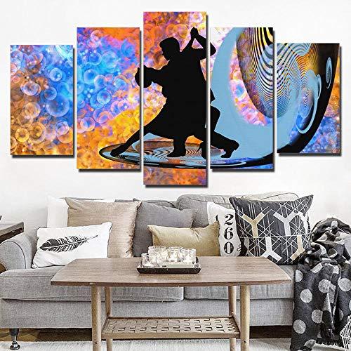 WTYBGDAN 5 Paneles de Arte de Pared en Lienzo Pintura fantástica Danza de Tango Lienzo Modular impresión de Arte de Pared decoración del hogar para Sala de Estar   30x40 30x60x2 30x80cm / sin Marco