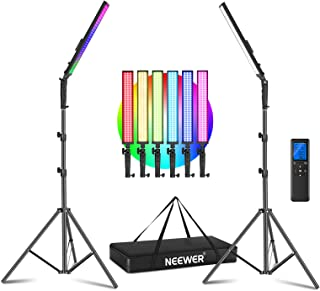 Neewer 2.4G RGB LED Light Stick, 2-Pack Photography Lighting Kit with Remote Control, 21W Dimmable 3200k~5600K/CRI95+/360°...