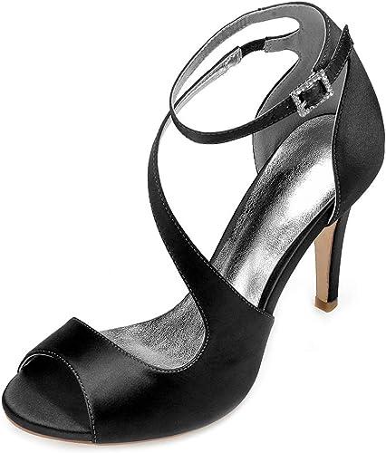 LHWAN dame sandales sandales en satin chaussures cheville sangle courbe robe de courroie robe de mariée fête talons