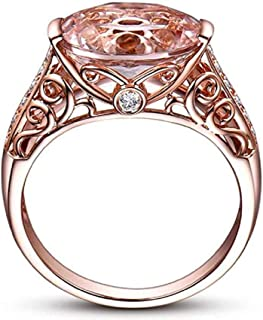 Deal Best Selling Rings, MERSDW Vintage Floral Shape Diamond Rings Simple Wild Men and Women Zircon Rings Accessories for Women`s Gemstone Ring Wedding Band Ring Jewelry Gifts (Rose Gold, 7)