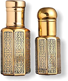 12PCS 3ml Glass Empty Refillable Perfume Essential Oil Attar Bottle with Black Gold and Silver Cap and glass sticks غرش را...