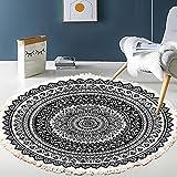 HHZY Alfombra Redonda con Diseño de Mandala Alfombra de Algodón Estilo Vintage Lavable para Salón, Dormitorio, Baño, Cocina, Decoración Playera,Negro,200cm
