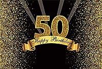 Amxxy 5x3ftお誕生日おめでとう背景ビニールキラキラゴールドと黒の写真スタジオブースの背景大人の幸せな50歳の誕生日パーティーの装飾写真撮影のためのバナーの背景