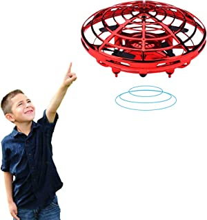 BIBIELF Kids and Boys Toys Hand Controlled Flying Ball Interactive Helicopter Ball with LED Lights Flying Toys for Boys Girls and Kids 3 4 5 6 7 8 9 10 (Red)