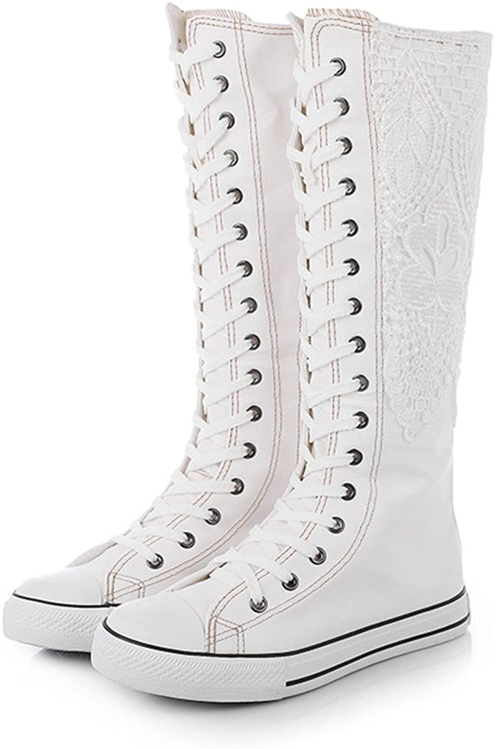 AGoGo Women's Lace Up Dancing Canvas Knee-High Boots