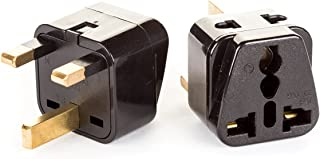 OREI 2 in 1 USA to UK/Hong Kong Adapter Plug (Type G) - 2 Pack, Black