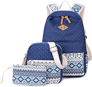 Abshoo Canvas Dot Backpack Cute Lightweight Teen Girls Backpacks School Shoulder Bags (Navy)