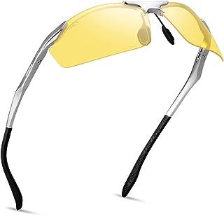 Night Vision Glasses for Men Women - SOXICK Polarized Driving Glasses Anti Glare Adjustable Metal Frame Night Driving glasses