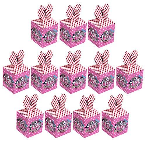 Qemsele Scatole Borse Festa per Bambini, 12 PCS Scatole Caramelle scatole di Regalo Borse Sacca Sacchettini del per Tema Riutilizzabile Festa di Compleanno Bambini bomboniare Sacchetto Festa (LOL)