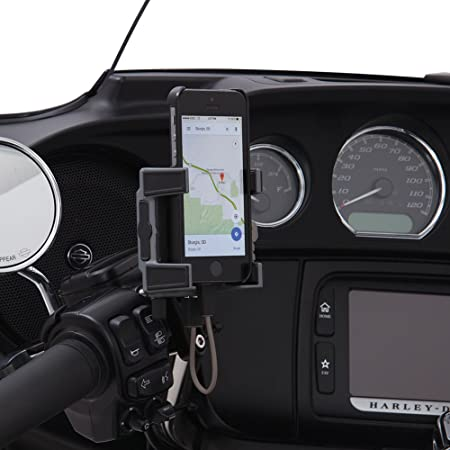 Ciro 50211 Smartphone/GPS Holder (Black Perch Mount With Charger For 1984-2016 Models (Excluding 2014-2016 Street Glide Models))