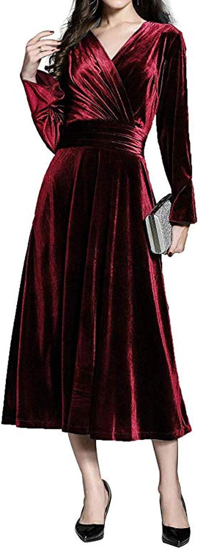 TTYbridal Velvet Prom Dresses Long Sleeve Evening Dress Tea Length VV11