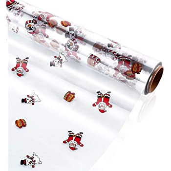 Amazon Com Toyandona Clear Cellophane Wrap Roll Santa Claus Pattern Gift Wrappings 2 5 Mil Thick Cellophane Wrapping Paper For Christmas Gifts Baskets Flowers Food Crafts 3000x40cm Health Personal Care