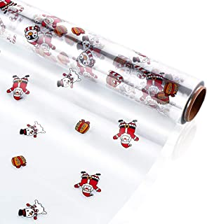STOBOK Clear Cellophane Wrap Roll Santa Claus Pattern Wrapper 15.7 inch x100 Ft,2.5 Mil,Crystal Long Film Gift Wrappings P...