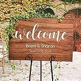 Fhdang Decor Personalisierbares Hochzeits-Willkommensschild aus Holz, rustikales Holzschild für Hochzeit, personalisierbar