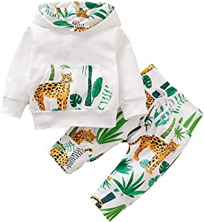 Newborn Infant Baby Boys Girls Unisex Baby Gift Animal Leopard Cactus Outfits Clothing Set for 1-3 Years