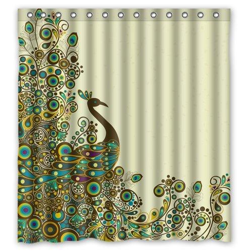 Fashion Custom Beautiful Peacock Pattern Waterproof Polyester Fabric Shower Curtain 66 x 72
