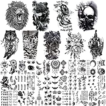 JOEHAPY 45 Sheets 3D Temporary Tattoos For Men Chest Shoulder Arm 9 Sheets Large Fake Temporary Tattoo For Women Lion Wolf Adult Skull 36 Sheets Small Black Tattoo Stickers For Kids Boys Girls Neck