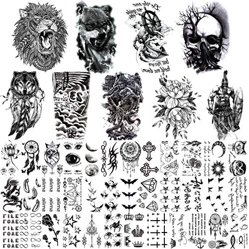 JOEHAPY 45 Sheets 3D Temporary Tattoos For Men Chest Shoulder Arm, 9 Sheets Large Fake Temporary Tattoo For Women Lion Wolf Adult Skull, 36 Sheets Small Black Tattoo Stickers For Kids Boys Girls Neck