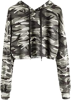 Clearance Sale! Hoodies Cropped Tops for Teen Girls Iuhan Women's 2018 Hoodie Camouflage Sweatshirt Long Sleeve Pullover Tops Blouse (M, Camouflage)
