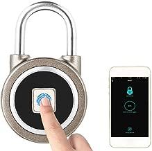 Smart Fingerprint Keyless Waterproof Lock APP Control Security Anti-Theft Padlock 15 Sets of Fingerprints Waterproof Rustproof Tamper Proof for Android iOS System