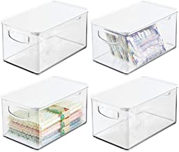"""mDesign Plastic Stackable Kitchen Pantry Cabinet, Refrigerator, Freezer Food Storage Bin Box with Handles, Lid - Organizer for Fruit, Jars, Packets, Snacks, Pasta - 10"""" Long - 4 Pack - Clear/White"""