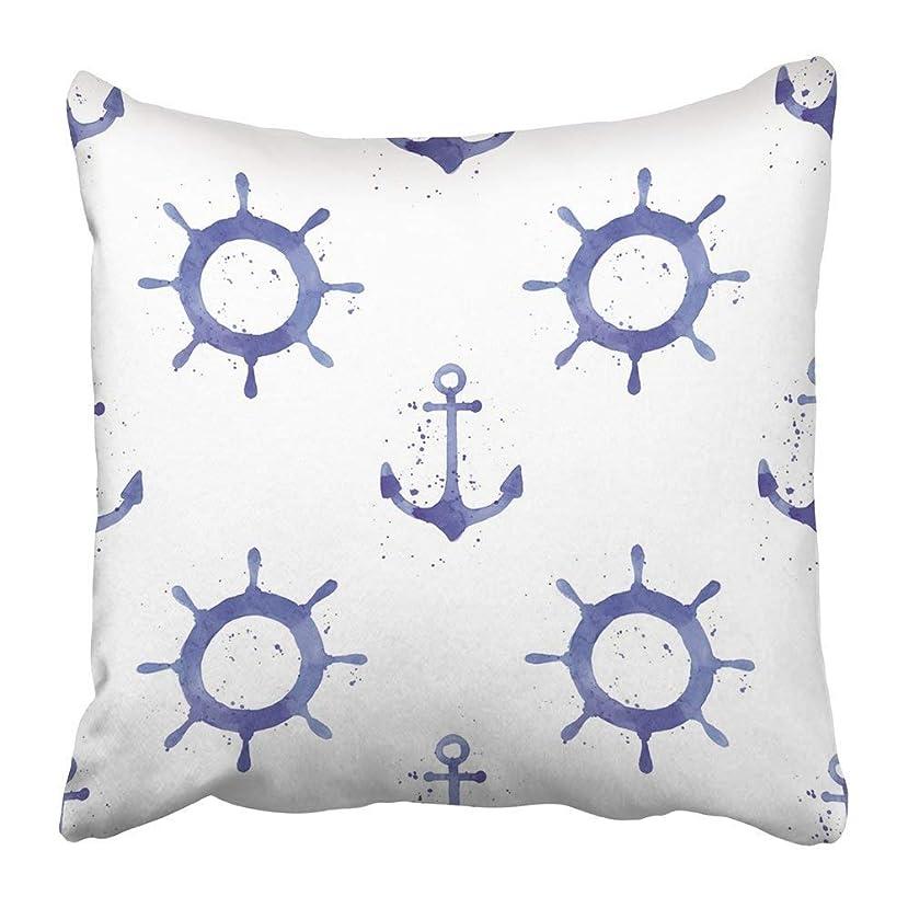 強大な胃数学的なThrow Pillow Covers Print Blue Boat Watercolor with Anchors and Steering Wheels Navy Marine Simple Abstract Color Creative Polyester 18 X 18 inch Square Hidden Zipper Decorative Pillowcase