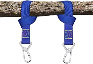 Luwint 2Pc Tree Swing Hanging Straps - Heavy Duty Hammocks Suspension Rope with Safe Carabiner (Blue 1.6ft)