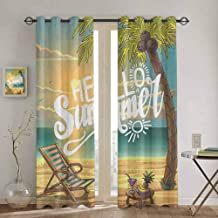 Hello Doorway Curtain Seashore with Palm Tree and Chair Illustration with Hello Summer Calligraphy Print for Bedroom Kindergarten Living Room W52 x L108 Inch Multicolor