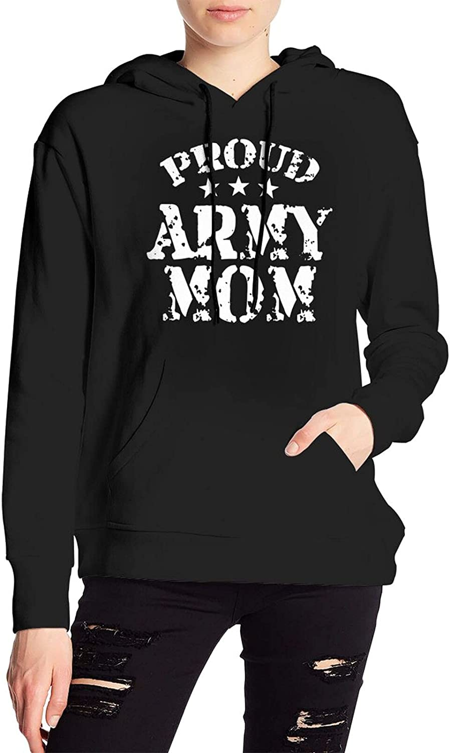 Proud Army Mom Sweater Casual Hooded Sweatshirt With Pocket For Men'S Women