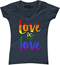 shop4ever Love is Love Women's V-Neck T-Shirt Gay Pride Shirts Slim FIT