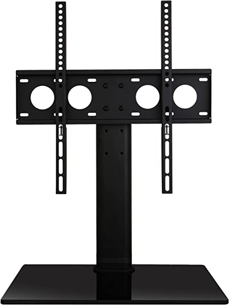 WALI Table Top TV Stand With Glass Base And Security Wire Fits Most 32 To 47 Inch LED LCD OLED And Plasma Flat Screen TV With VESA Up To 400 By 400mm TVDVD 01 Black