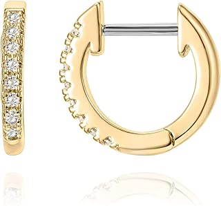 14K Gold Plated Cubic Zirconia Cuff Earrings Huggie Stud