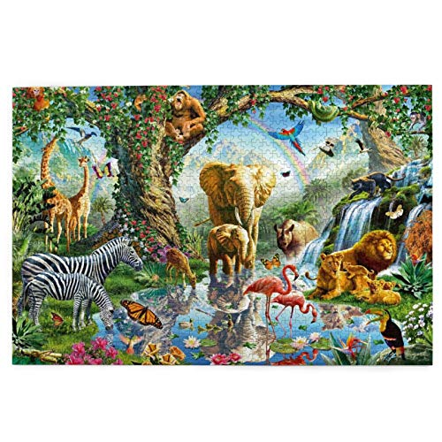 Jigsaws Puzzles Zoo Animals Tiger Elephant Jigsaws Table Games Educational 1000 Pieces Home Relation Adult Puzzle Sturdy Xmas Fact Poster Jigsaws Indoor Brainstorm Toy Gif Puzzles