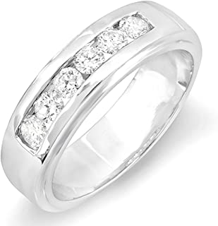 Dazzlingrock Collection 1.00 Carat (ctw) 14K Round White Diamond Channel Mens Wedding Band 1 CT, White Gold