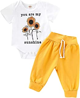 Toddler Girls Playsuit Pant Set 💝 Casual Sunflower Print Romper Jumpsuit Tops + Solid Color Half Pant 💝 Infant Newborn Clothes Suit (0-6 Months, White)