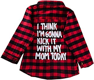 Kid Baby Boy Girl Letter Printed Long Sleeve Button Down Cotton Plaid Shirt