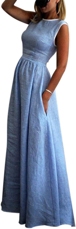 Beach Dress Summer Women Tunic Cotton Long Dresses Ladies Pockets Sleeveless A Line Casual Dress