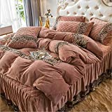 ライフアクセサリー羽毛布団カバー寝具ベビーベルベットレースキルティングベッドスカート4ピース冬厚厚暖かいクリスタルベルベットキット