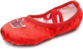 RUYBOZRY Zapatillas de Ballet para niñas&Women con Lentejuelas Corona Satinada Rhythmic Gymnastics Shoes,Modelo-TJ-HGBL