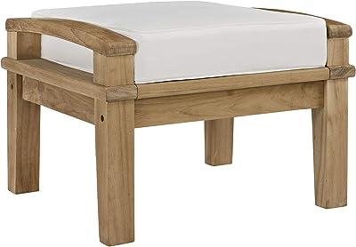 Modway EEI-1152-NAT-WHI-SET Marina Premium Grade A Teak Wood Outdoor Patio Ottoman, Natural White