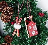 Adorfine Deco Christbaum Schmuck, Wintersport Weihnachtsanhänger aus Holz in Bordeaux- Schlittschuhe, Schlitten, Handschuhe,Weihnachtsmann Baumbehang mit Kuscheligen Plüsch - 4
