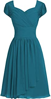 Cdress Chiffon Short Bridesmaid Dresses Prom Homecoming Dress Wedding Cocktail Party Gowns with Sleeves