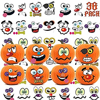 36 Packs Halloween Pumpkin Decorating Stickers 18 Sheet Pumpkin Face Stickers in 12 Designs for Halloween Party Supplies Trick or Treat Party Favors