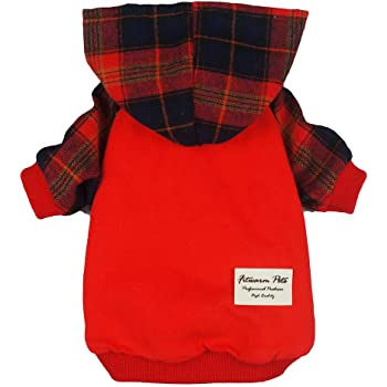 Fitwarm Plaid Pet Clothes for Dog Hoodies Cat Hooded T Shirts Red
