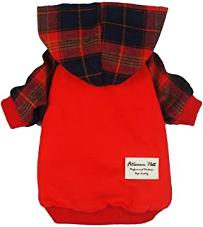 Fitwarm Plaid Pet Clothes for Dog Hoodies Cat Hooded T Shirts Red XS Red Fwsweatshirt_red_XS_A8191